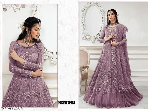 Lavender  color Net with embroidery work net material Pakistani Suit