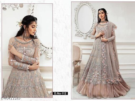 Chiku  color Net with embroidery work net material Pakistani Suit