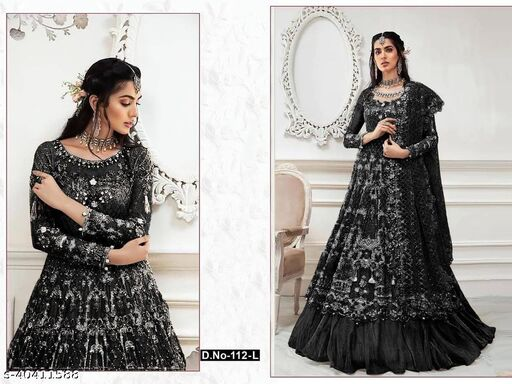 BLack  color Net with embroidery work net material Pakistani Suit