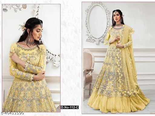 Yellow  color Net with embroidery work net material Pakistani Suit