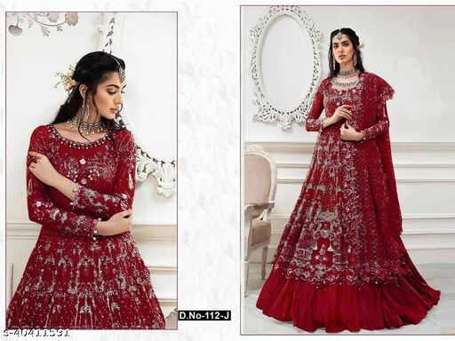 Maroon  color Net with embroidery work net material Pakistani Suit