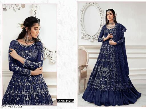 Blue  color Net with embroidery work net material Pakistani Suit