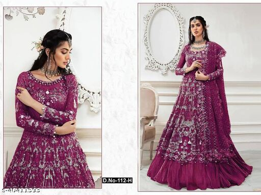 Purple  color Net with embroidery work net material Pakistani Suit