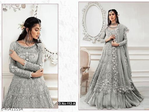 GreY  color Net with embroidery work net material Pakistani Suit