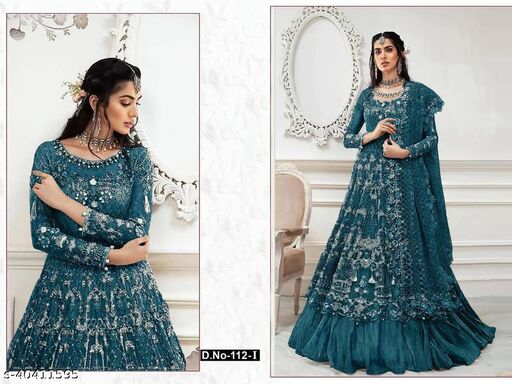 Morpinch  color Net with embroidery work net material Pakistani Suit