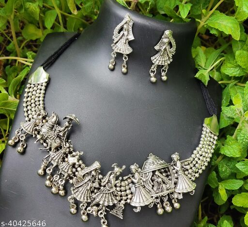 Oxidized Silver Color Choker Necklace Set With Earrings