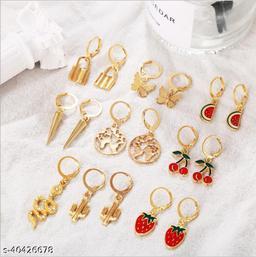 Arzonai European and American cross-border new simple combination earrings set, retro fashion temperament fruit animal earrings 9-piece set