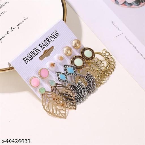 Arzonai Cross-border set earrings ethnic style retro 6-piece earrings female fashion hollow flower leaf card earrings