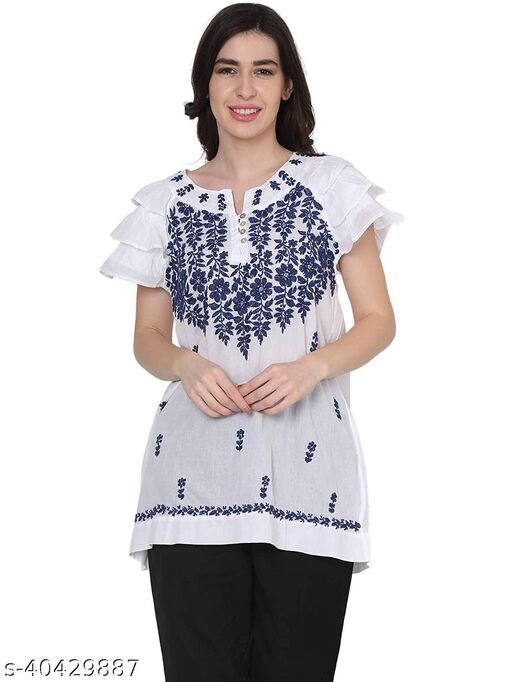 House Of Kari Premium Soft Cotton Sleeveless Round Neck Hand Embroidery Tunic Topwear for Women | Stylish Casual | Office wear | Fancy | White & Blue