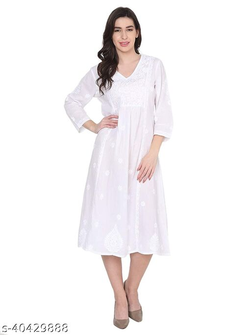 House Of Kari Premium Soft Cotton Quarter Sleeves Round Neck Long Hand Embroidery Dress for Women   Stylish Casual   Office wear   Fancy   White