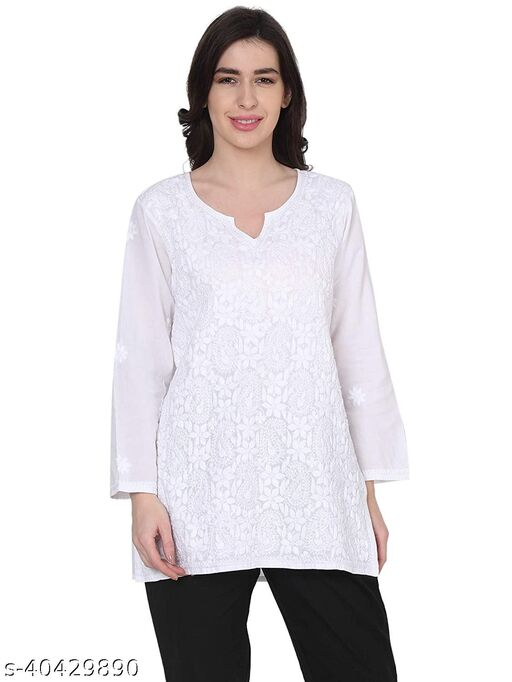 House Of Kari Premium Soft Cotton Long Sleeveless Round Neck Hand Embroidery Shirt for Women   Stylish Casual   Office wear   Fancy   Pink & White
