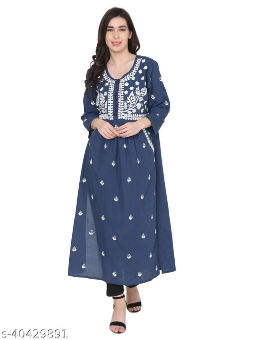 House Of Kari Premium Soft Cotton Long Quarter Sleeves Round Neck Hand Embroidery Dress for Women   Stylish Casual   Office wear   Fancy   Dark Blue with White Design