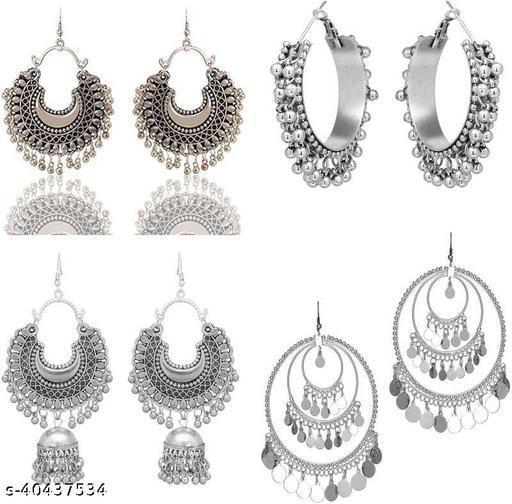 Latest New Silver Designer Kashmiri Dangle Trendy Oxidized Earrings