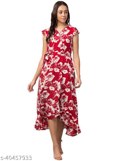 RIVA LOVE Women's A-Line Maxi Dress (RLDR02_Red)
