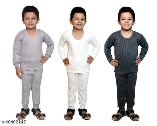 BODYSENSE White , Light Grey & Black Thermal Top & Pyjama Set for Unisex ( Pack of 3 Sets )