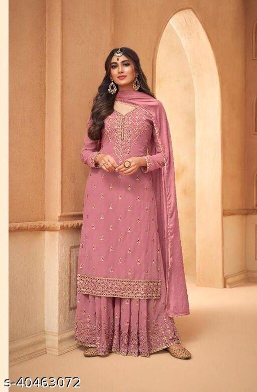 Pink Faux georgette semistiched shtraight style Pllazzo Suit with Top And Bottom Full Embroidery Work