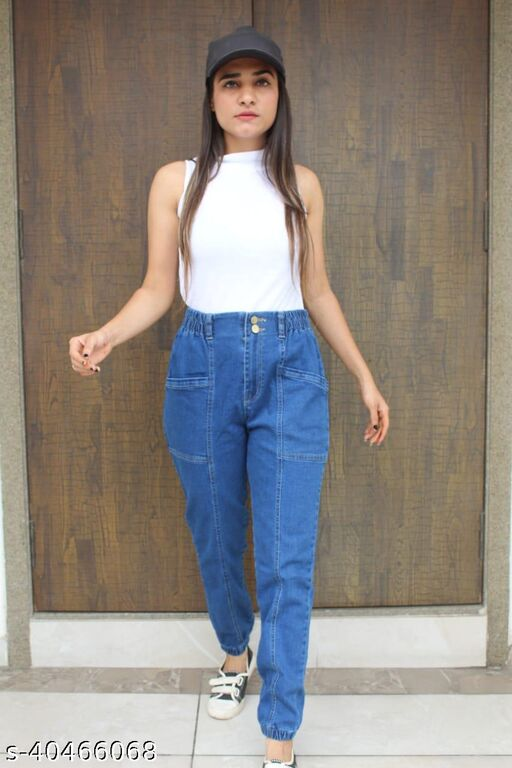 women new look important denim free style TROUSERS