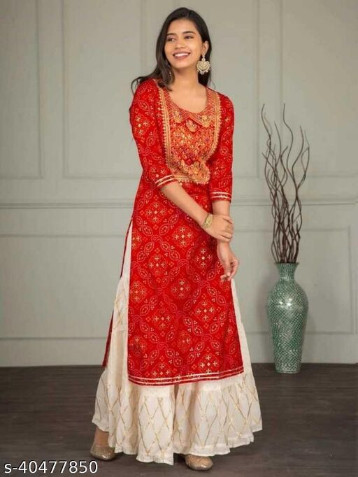 RED COLOR EMBROIDERY KURTI WITH SARARA