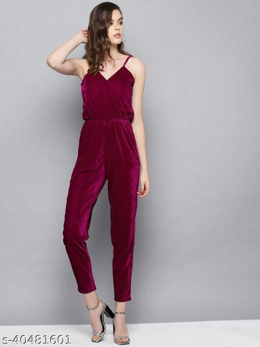 Purple Solid Velvet Jumpsuit