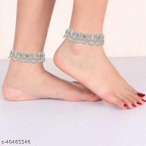 Qrown Indian Traditional Alloy  Silver  Anklet