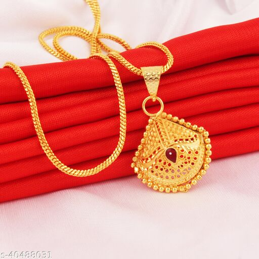 Trendy Fashion Golden Gold-Plated Pendent With Chain For Women