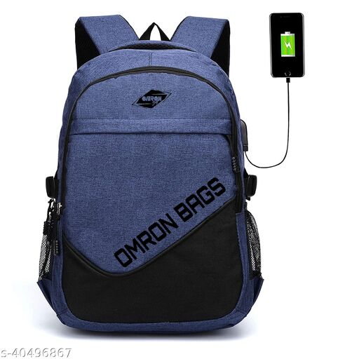 Stylish Backpack With USB Charging Port, Water Resistant for Men & Women (Navy blue)