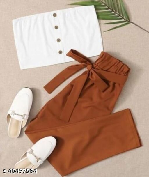 White Sleeveless Crop Top with Brown Pajama Set for Women