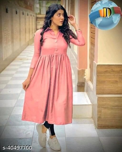 Women's Rayon Solid Anarkali Style Pink Color Kurti