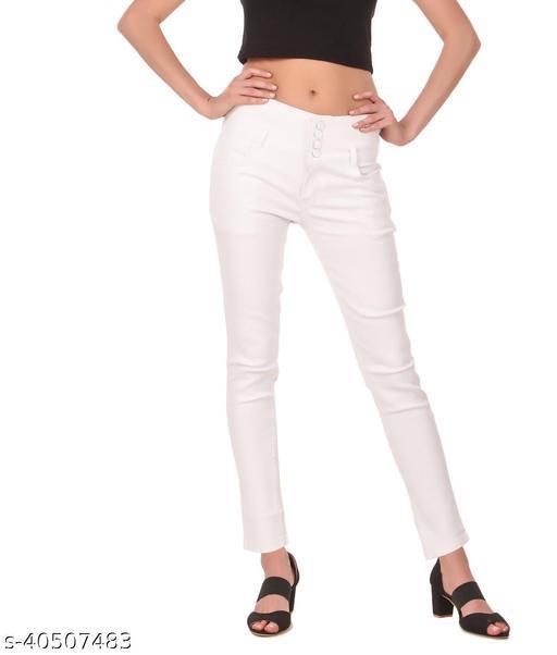 """Jac Fashion"" Presents 4 Button White Women Jeans (Pack of 1, Wht)"