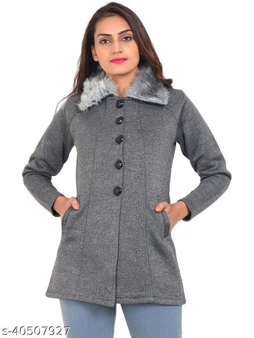 Smart Winter Sweaters For Women with Fur Collar-Grey