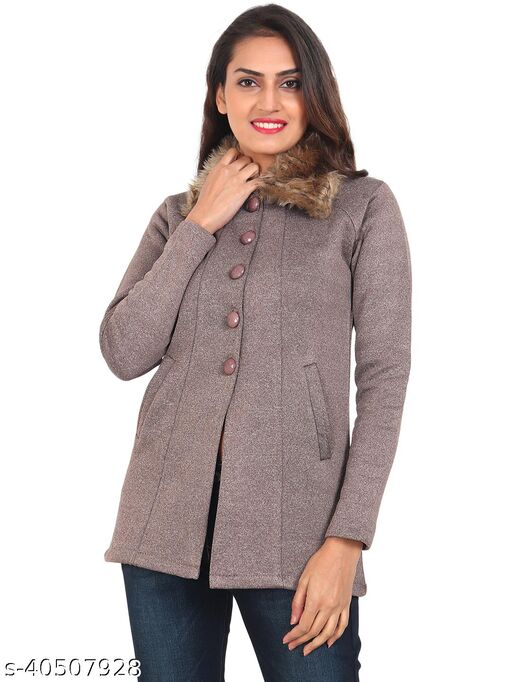 Smart Winter Sweaters For Women with Fur Collar-Brown