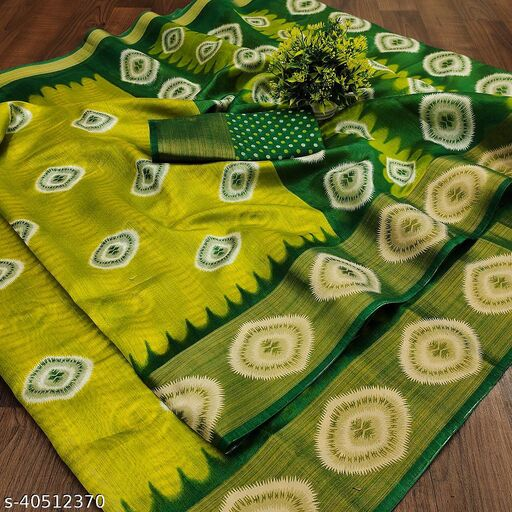 Riva Enterprise women's Poly cotton with prizam print  Zari broad border and printed saree