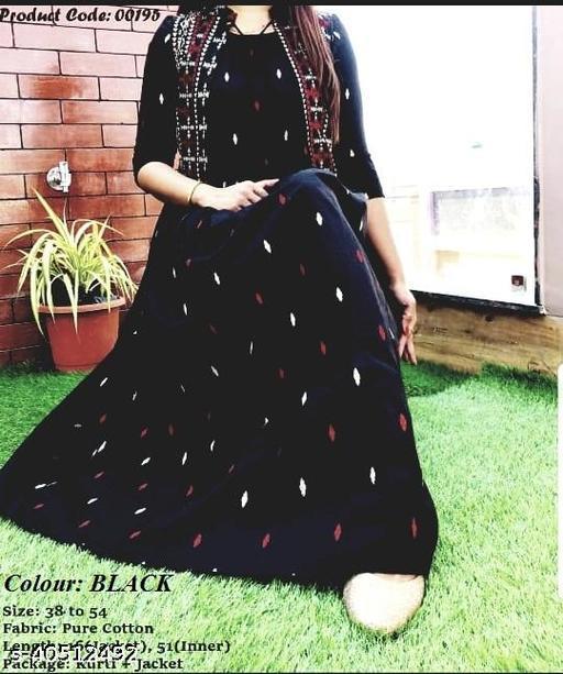 Women Rayon Black Pleated Printed  Kurtis