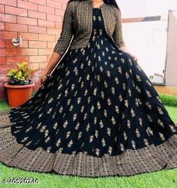 Stylish Anarkali Black Kurti With Koti