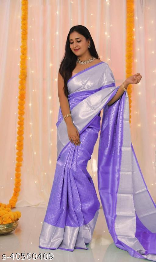 Attractive Lavender Color kanjeevaram Silk Saree