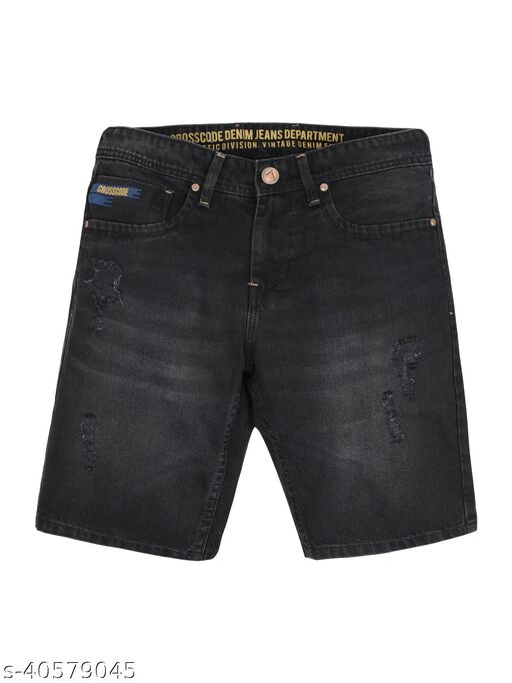 Crosscode - Men's Denim Fashion Shorts(CCDBSHT018_BLACK 1)