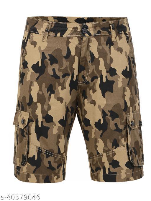 Crosscode - Men's Cargo Style Casual Shorts(CCSHTCF011_BEIGE)