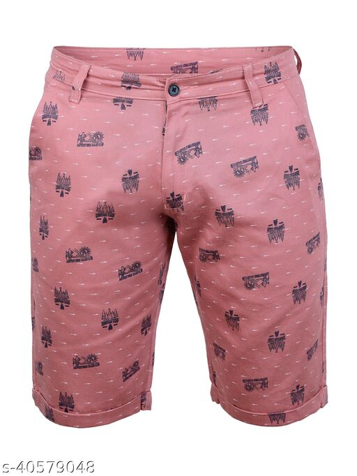 Crosscode - Men's Printed Casual Shorts(CCSHORTSPRT003_PINK)