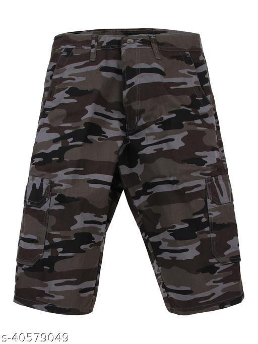 Crosscode - Men's Cargo Style Casual Shorts(CCSHTCF011_GREY)