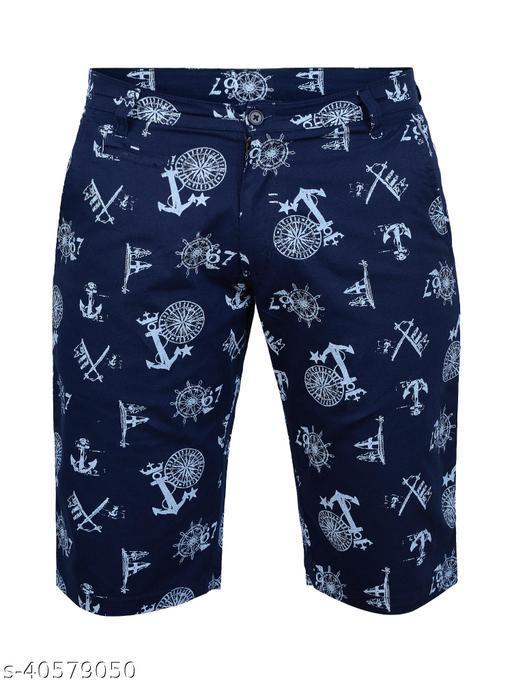 Crosscode - Men's Printed Casual Shorts(CCSHORTSPRT004_NAVY)
