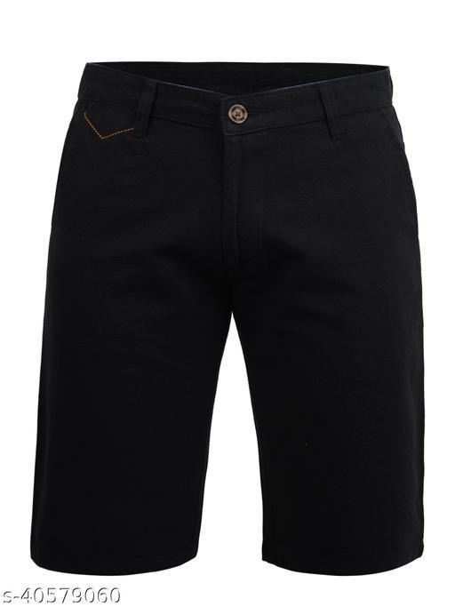 Crosscode - Men's Linen Look Casual Shorts(CCSHTS015_BLACK)