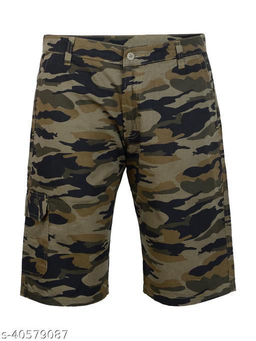 Crosscode - Men's Cargo Style Casual Shorts(CCSHORTSC002_GREEN)