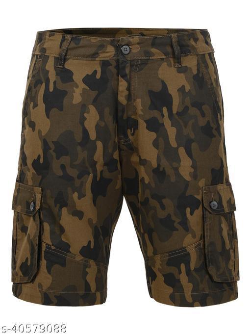 Crosscode - Men's Cargo Style Casual Shorts(CCSHTCF011_GREEN)