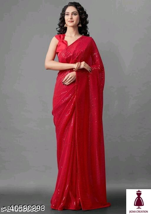 Georgette sequence work saree with heavy emroidery sequence work.