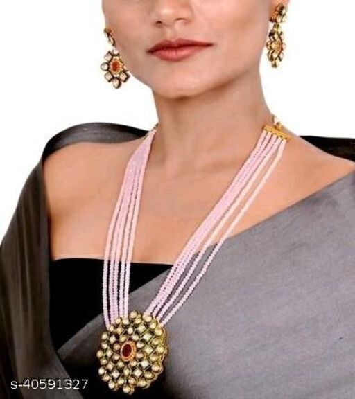 Gold Plated AD Kundan Pendant Pink Layered Necklace Set and matching Earrings for Women and Girls