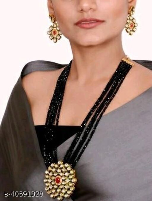 Gold Plated AD Kundan Pendant Black Layered Necklace Set and matching Earrings for Women and Girls