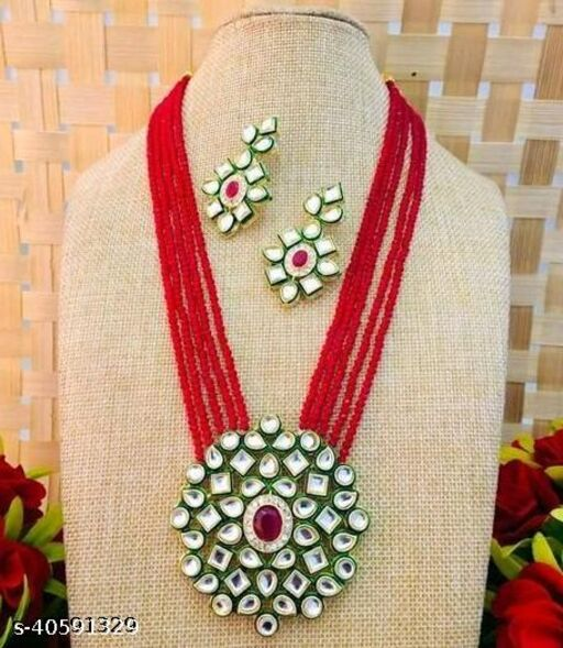 Gold Plated AD Kundan Pendant Red Layered Necklace Set and matching Earrings for Women and Girls