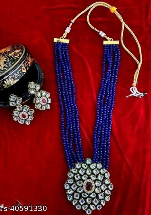 Gold Plated AD Kundan Pendant Blue Layered Necklace Set and matching Earrings for Women and Girls