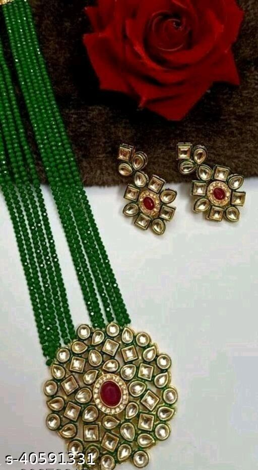 Gold Plated AD Kundan Pendant Green Layered Necklace Set and matching Earrings for Women and Girls
