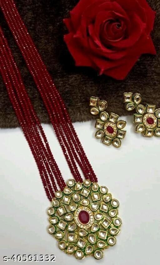 Gold Plated AD Kundan Pendant Maroon Layered Necklace Set and matching Earrings for Women and Girls